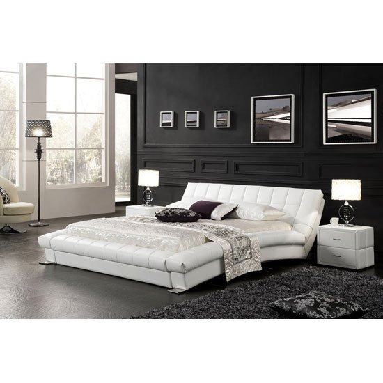 Candiac King Size Bed In White Faux Leather With Aluminium Legs
