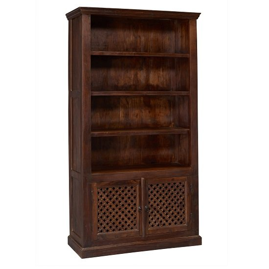 Bursa Tall Bookcase In Sheesham Wood With 4 Shelf