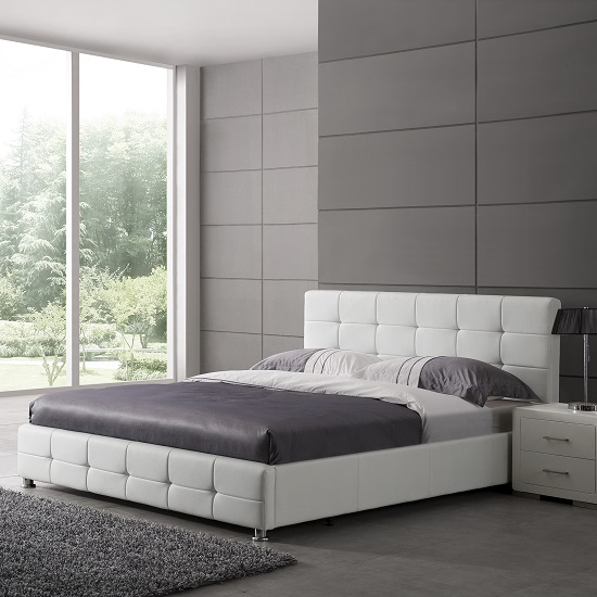 Martini Double Bed In White Faux Leather With Aluminium Legs