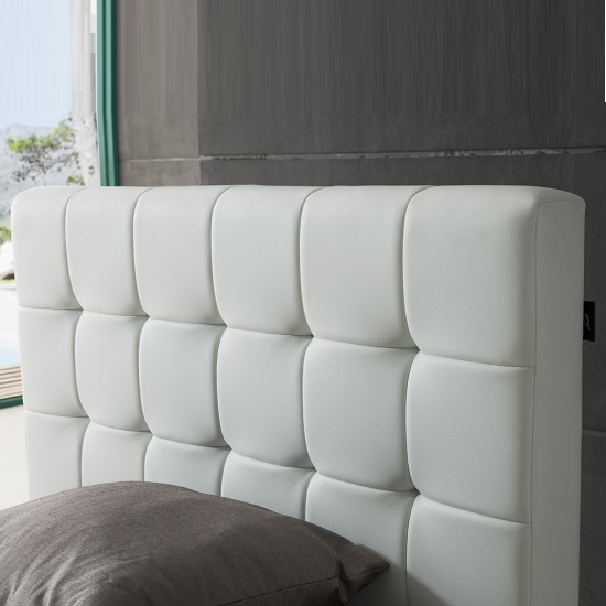 Beds All Martini Single Bed In White Faux Leather With Aluminium Legs 550 x 550