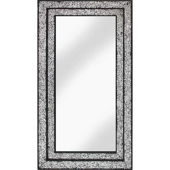 Betsy Wall Mirror Rectangular In Mosaic Black And Silver