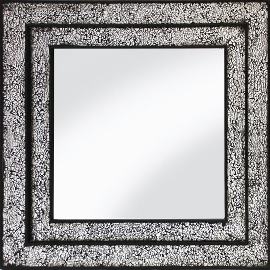 Betsy Wall Mirror Square In Mosaic Black And Silver Frame