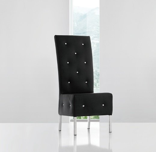 Asam Studded Faux Leather Dining Room Chair In Black