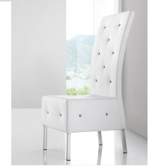 Asam Studded Faux Leather Dining Room Chair In White