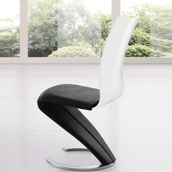 zoro z shaped dining chair in black and white 21392