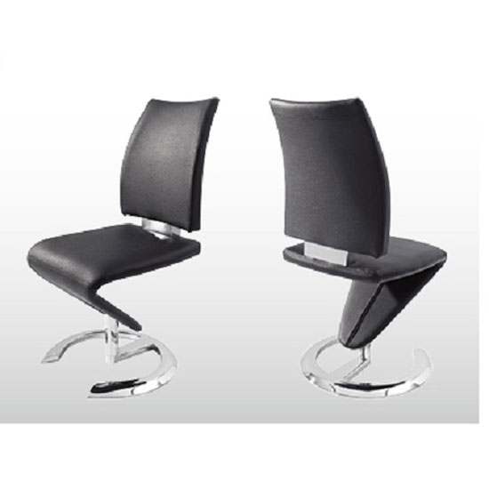 Nesta z shape black faux leather modern dining chair 21131 f for Z shaped dining room chairs