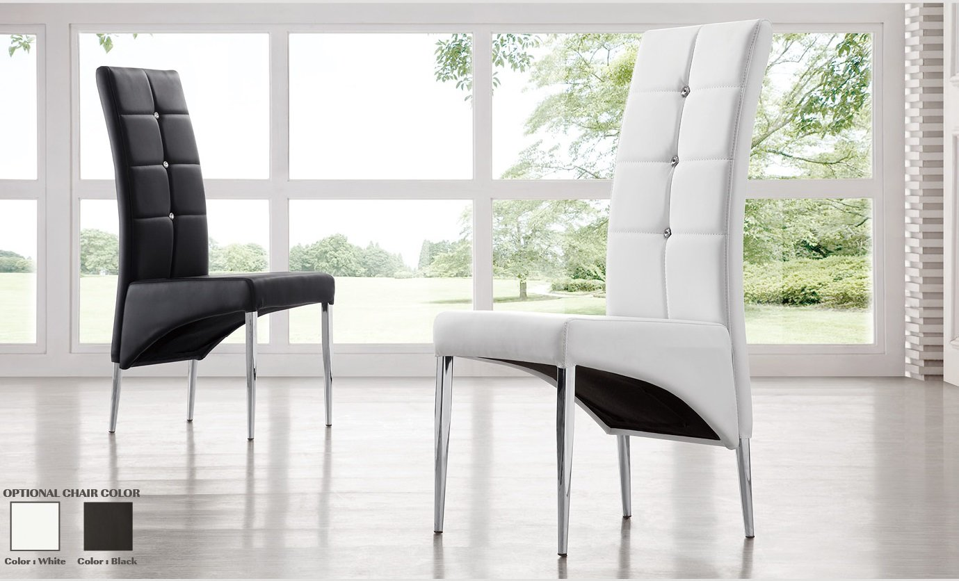 Vesta Studded Faux Leather Dining Room Chair in White