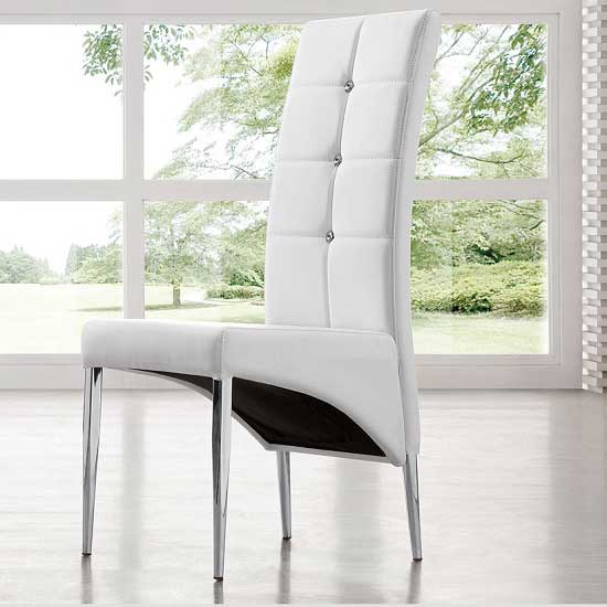 Vesta studded faux leather dining room chair in white 21163 for Studded dining room chairs