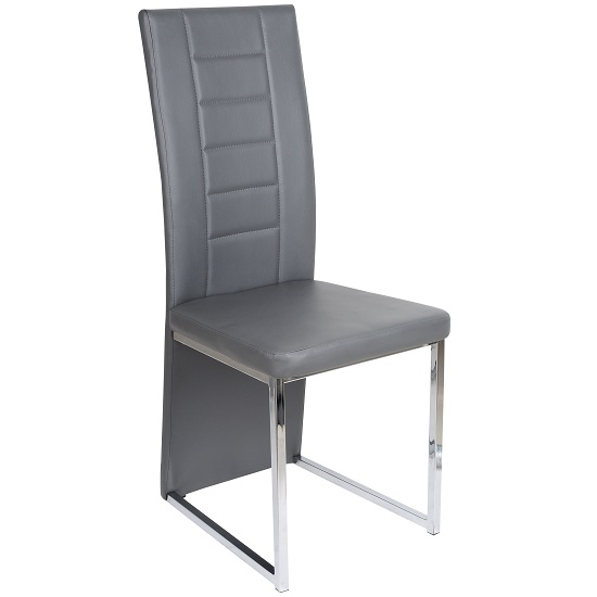 benito dining chair in grey faux leather with chrome legs. Black Bedroom Furniture Sets. Home Design Ideas