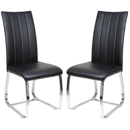 Elston Dining Chair In Black Faux Leather In A Pair