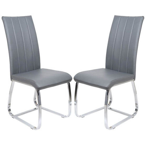 Elston Dining Chair In Grey Faux Leather In A Pair