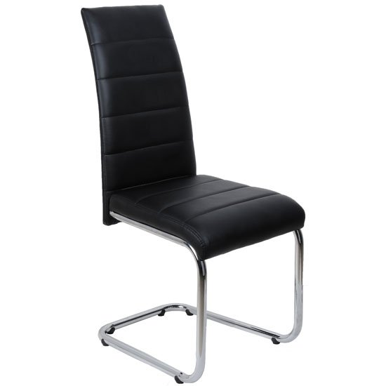 Daryl Dining Chair In Black PU Leather With Stainless Steel