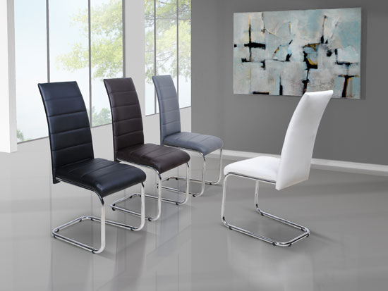Daryl Dining Chair In Black PU Leather With Stainless Steel Legs
