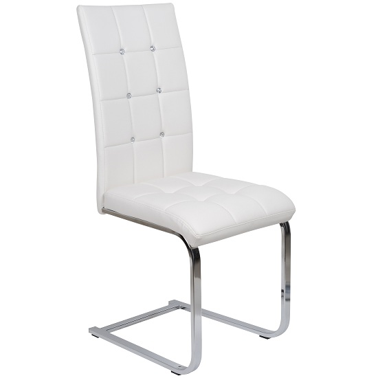 Copley dining chair in white faux leather with diamante 2407 - Chaises laquees blanches ...