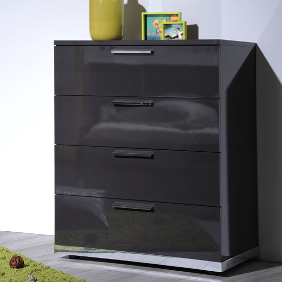 Sinatra Grey High Gloss Finish 4 Drawers Chest Of Drawers 22