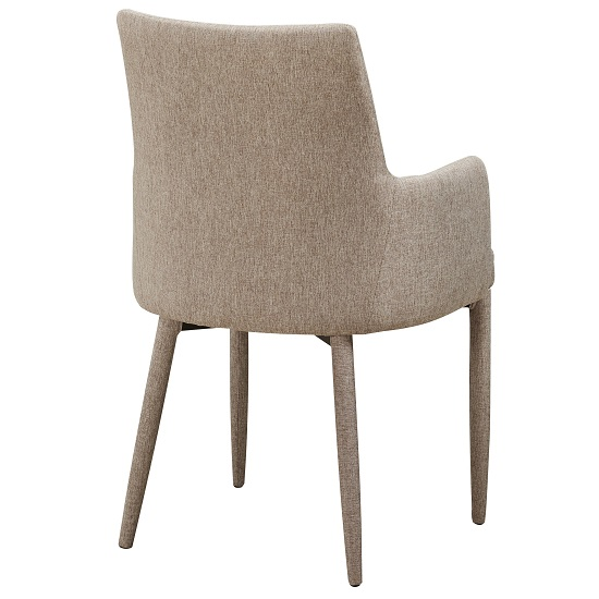 Cardigan Dining Chair In Beige Fabric With Armrests