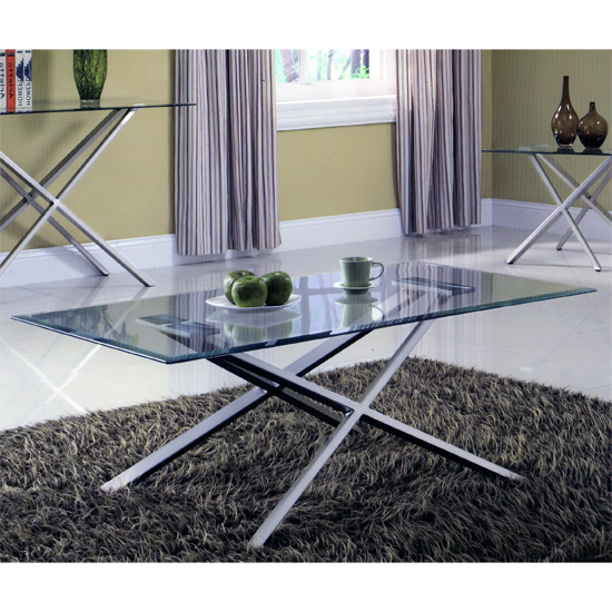 Adelphi Glass Coffee Table In Clear With Cross Leg Chrome Base