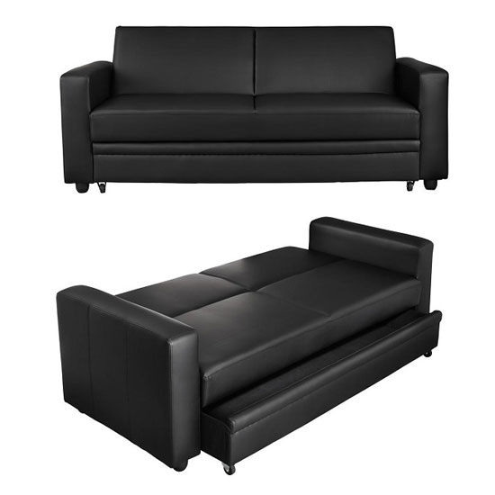 Colette Storage Sofa Bed In Black Faux Leather
