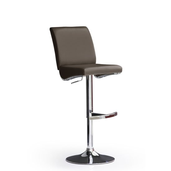 Diaz Brown Bar Stool In Faux Leather With Round Chrome Base