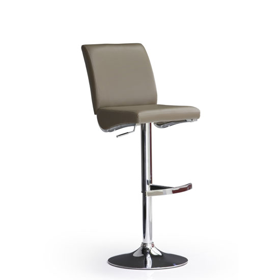Diaz Cappuccino Bar Stool In Faux Leather With Round Chrome Base