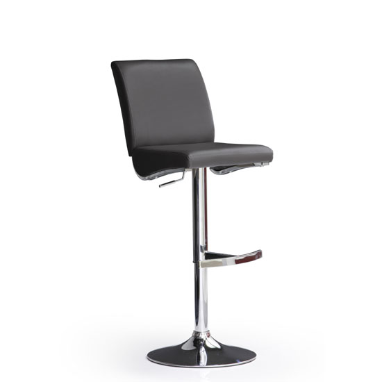 Diaz Black Bar Stool In Faux Leather With Round Chrome Base