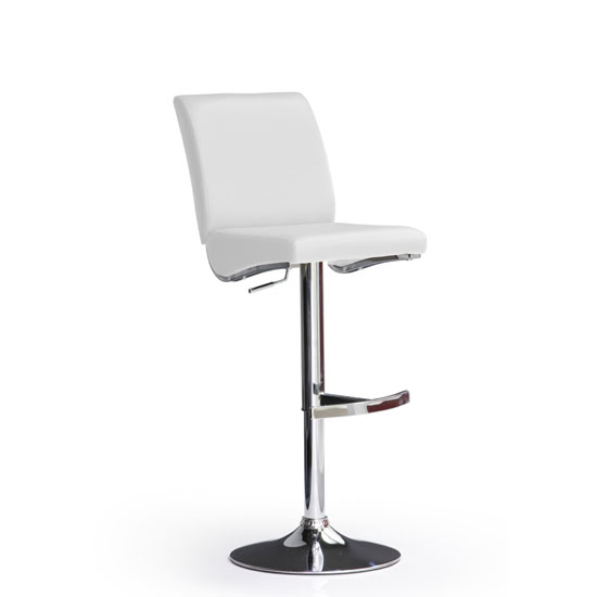 Diaz White Bar Stool In Faux Leather With Round Chrome Base