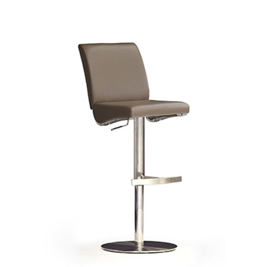 Diaz Cappuccino PU Leather Bar Stool With Stainless Steel Base