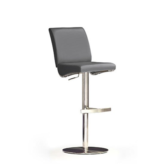 Diaz Grey Bar Stool In Faux Leather With Stainless Steel Base