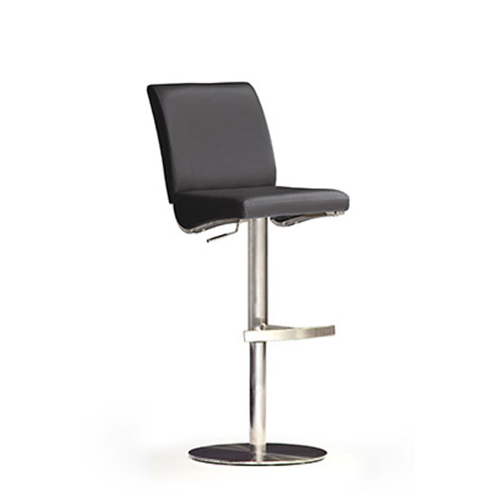 Diaz Black Bar Stool In Faux Leather With Stainless Steel Base