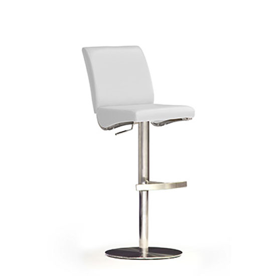 Diaz White Bar Stool In Faux Leather With Stainless Steel Base