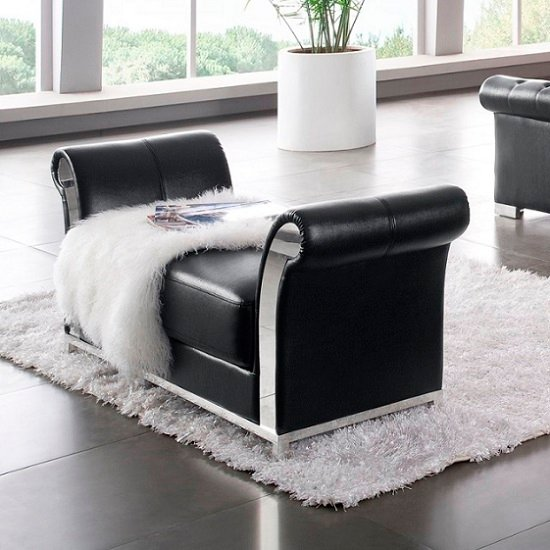 Vermosa Contemporary Bedside Cabinet In Black Faux Leather