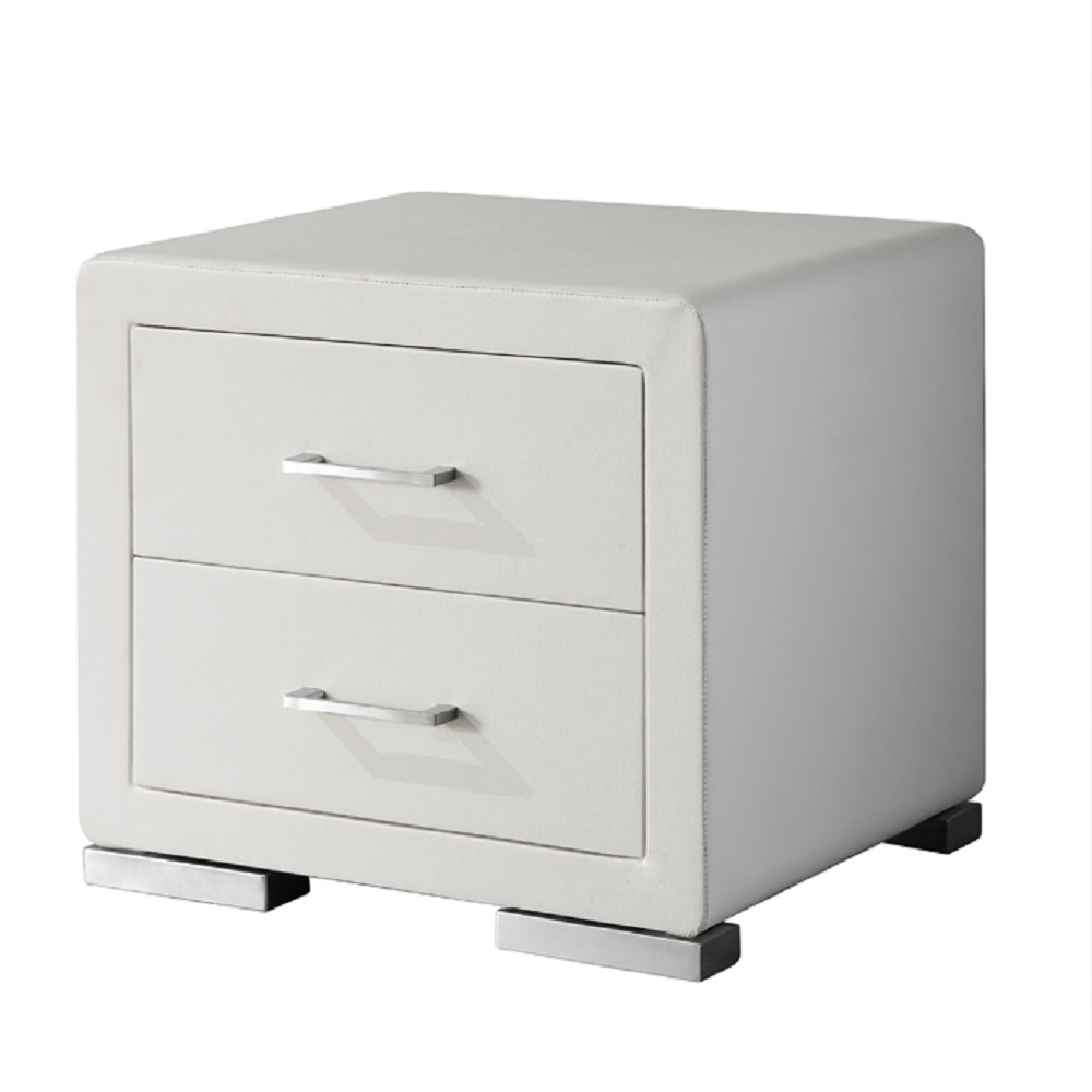 Vermosa 2 Drawer White Faux Leather Bedside Cabinet