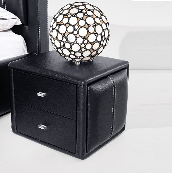Victoria contemporary 2 drawer black faux leather bedside for Funky bedside cabinets