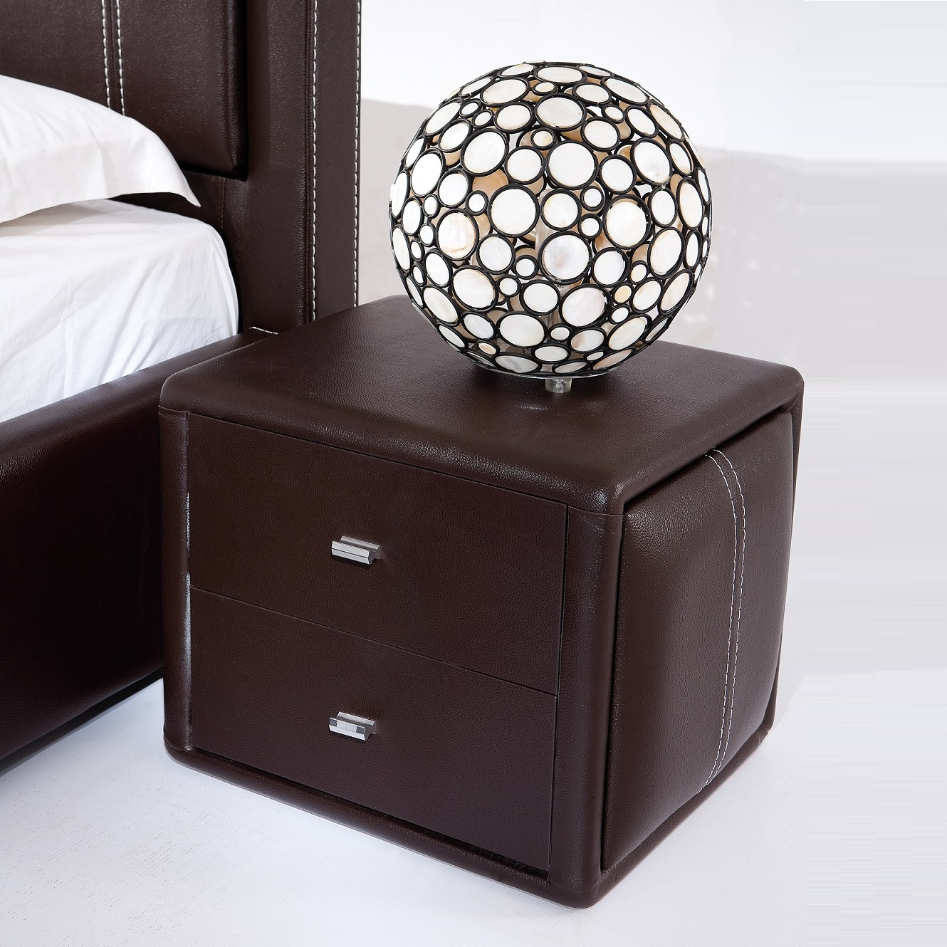 Victoria Contemporary 2 Drawer Brown Faux Leather Bedside