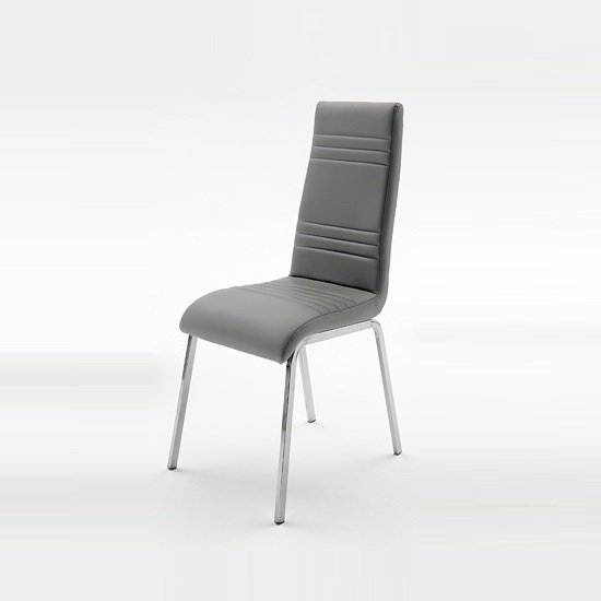 Dora Dining Chair In Grey Faux Leather With Chrome Base