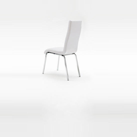 Dora Dining Chair In White Faux Leather With Chrome Base_2