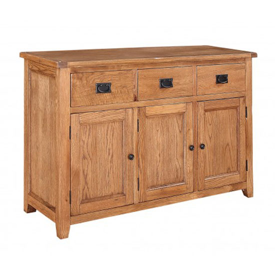 'Hailey Solid Oak Finish 3 Door Large Sideboard With 3 Drawers