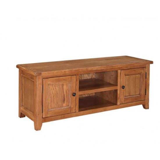 Hailey Solid Oak Finish LCD TV Stand With 2 Door