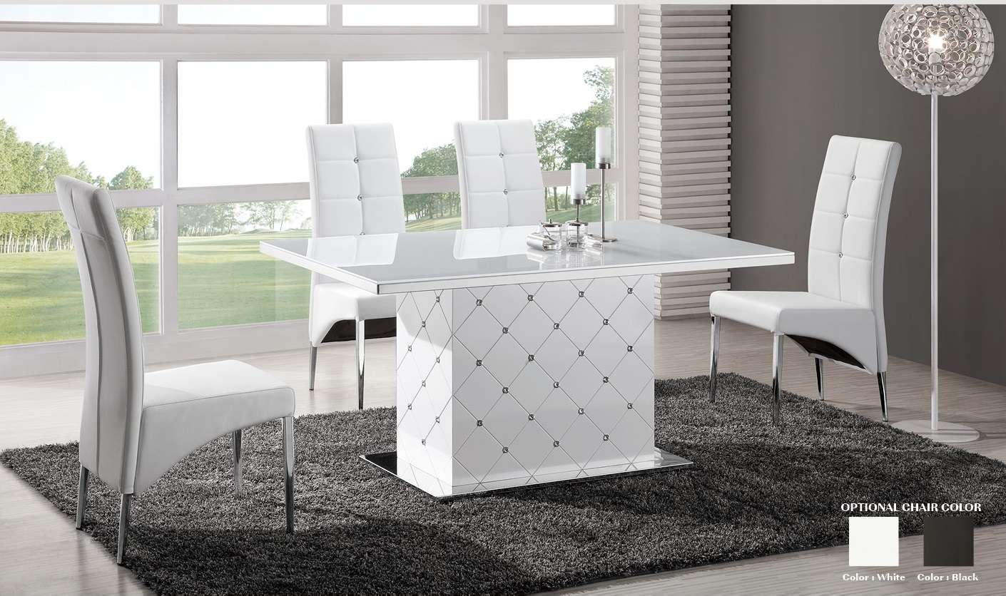 Levono glass high gloss dining table in white with for Furniture in fashion