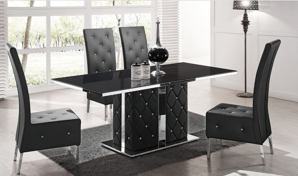Levo High Glass Dining Table In Black With Rhinestone