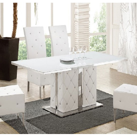 Levo Glass With High Gloss Base Rhinestones Dining Table