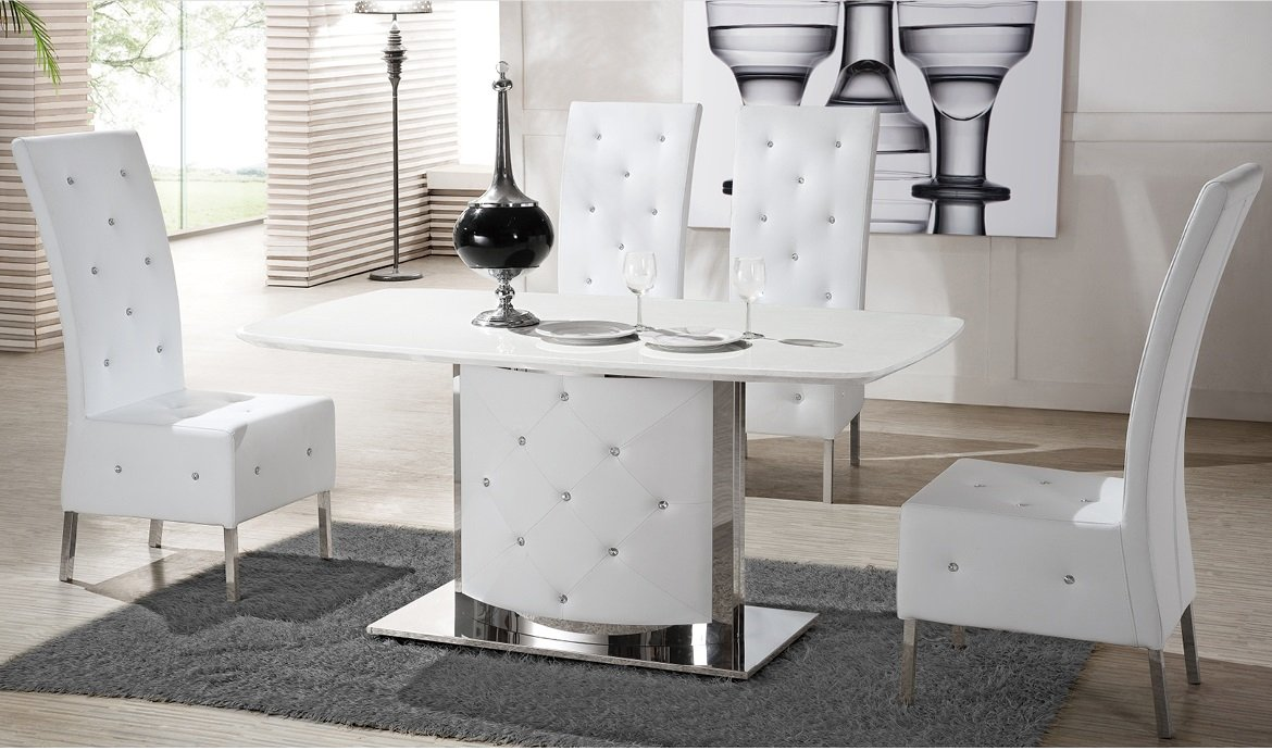 Serene white marble finish dining table and 4 chairs 21371 - White marble dining tables ...