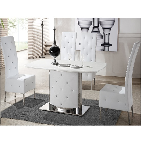Serene White Marble Finish Dining Table And 4 Chairs