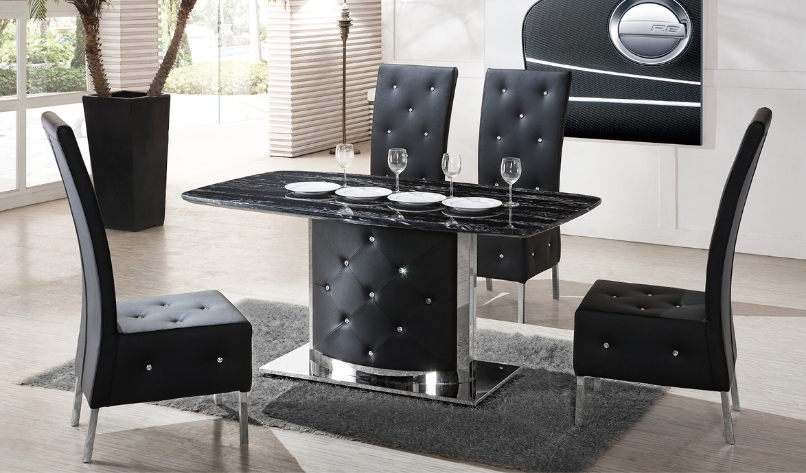 Serene black marble finish dining table and 4 chairs 21366 for Black dining table and 4 chairs