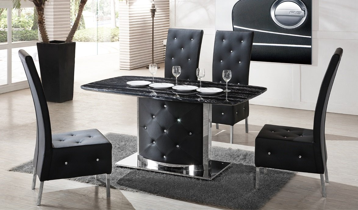 Serene Black Marble Finish Dining Table And 4 Chairs 21366 : DTG 726blackmarbleroomset from www.furnitureinfashion.net size 1174 x 689 jpeg 293kB