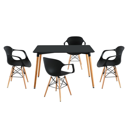 Julian Bistro Dining Table Rectangular In Matt Black And 4 Chair