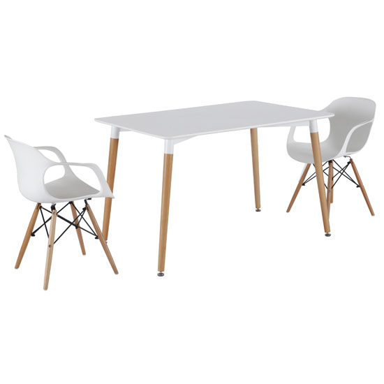 Julian Bistro Dining Table Rectangular In Matt White And 2 Chair