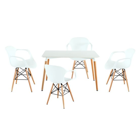 Julian Bistro Dining Table Rectangular In Matt White And 4 Chair