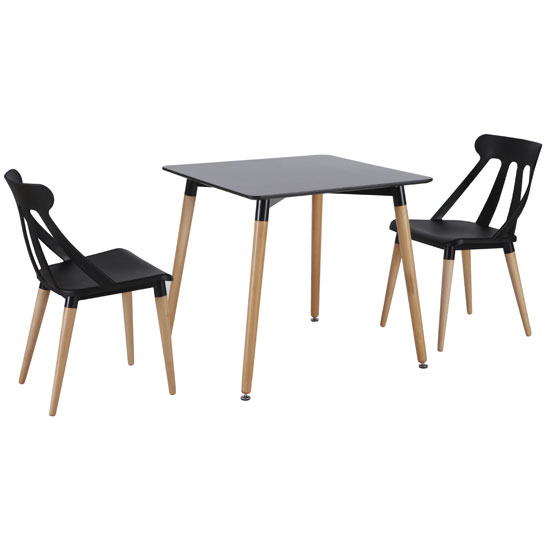 Julia Bistro Dining Table In Matt Black With 2 Dining Chairs