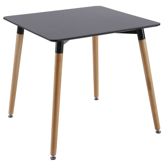 Julia Dining Table Square In Black Top With Solid Beech Legs